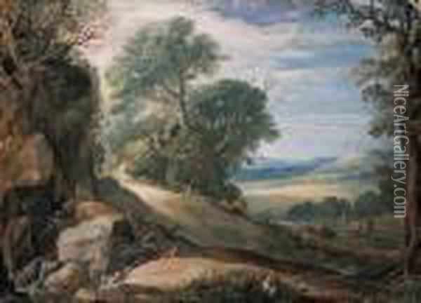 An Italianate Landscape With  Herdsmen And Cattle By A Stream,buildings In The Hills Beyond Oil Painting - Paul Bril