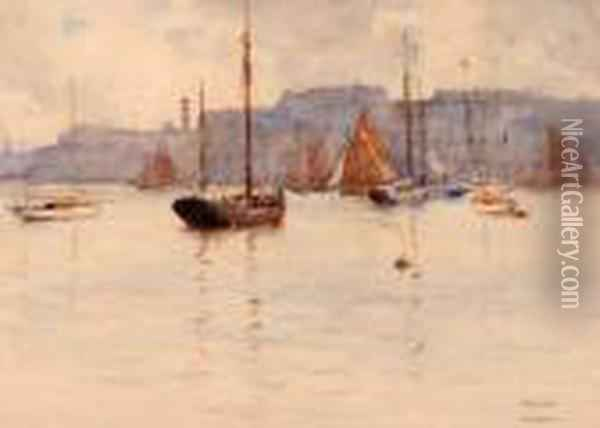 In Plymouth Sound Oil Painting - Arthur John Trevor Briscoe