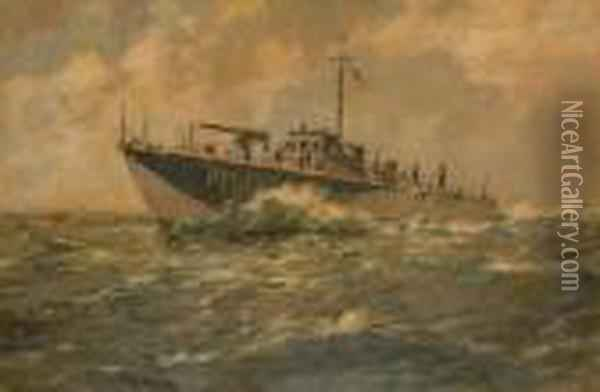 On Patrol. Oil Painting - Arthur John Trevor Briscoe