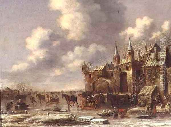 Townsfolk on the ice by a town gate Oil Painting - Thomas Heeremans