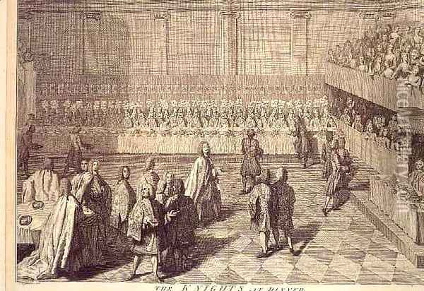 The Knights of the Order of the Bath at a Dinner to honour Prince William Oil Painting - Joseph Highmore