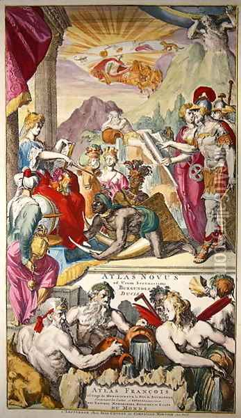 Title page of Atlas Novus ad usum Serenissimi Burgundiae Ducis depicting Europa receiving tribute from the peoples of Asia Africa and America Oil Painting - Romeyn de Hooghe