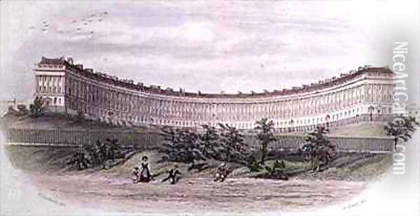 Royal Crescent Bath from the park Oil Painting - Hardwick of Bath, William N.
