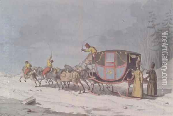 Horse and carriage on Sledges from Customs and Habits of the Russians Oil Painting - Armand Gustave Houbigant