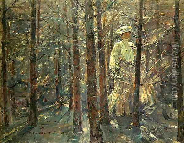 Woman in a Wood Oil Painting - Adolf Hoelzel