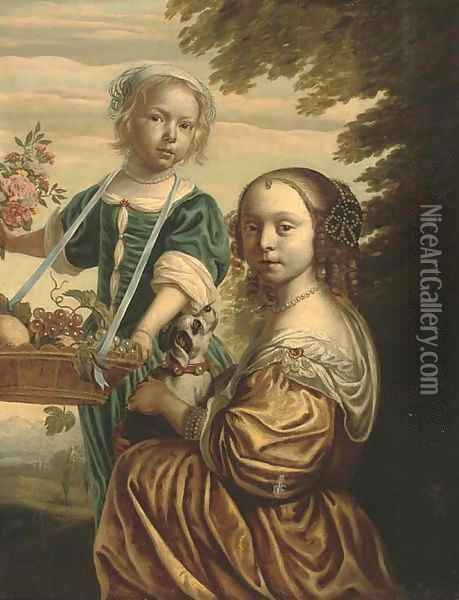 Double portrait of two girls, the elder kneeling, in a yellow silk dress with a dog in her lap, the younger standing Oil Painting - Bartholomeus Van Der Helst