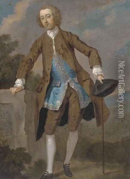 Portrait of Gustavus Hamilton (1710-1746), 2nd Viscount Boyne, small full-length, in a brown frock coat and blue waistcoat Oil Painting - William Hogarth