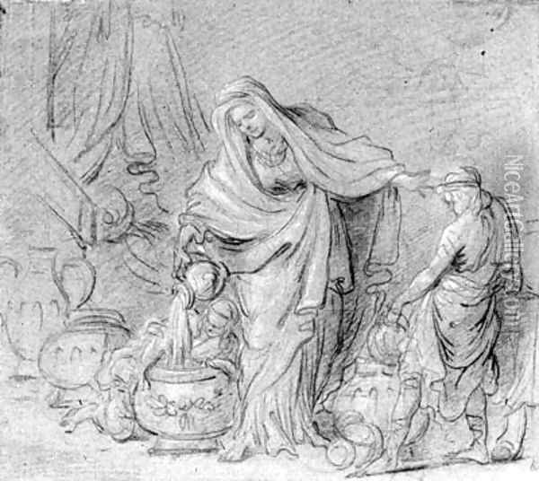 A draped woman pouring water in a basin assisted by two boys (recto); A reclining nude seen from behind (verso) Oil Painting - Noel Halle