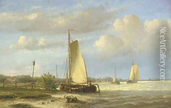 Sailing barges on a river; Vessels on a calm river Oil Painting - Hendrik Hulk