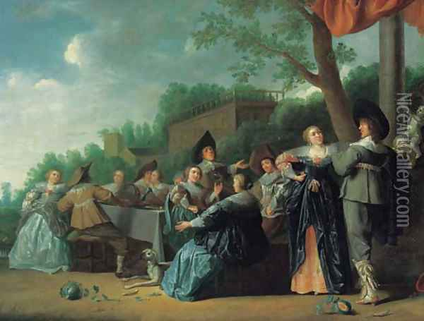 Elegant company feasting in an ornamental garden, a palace beyond Oil Painting - Dirck Hals