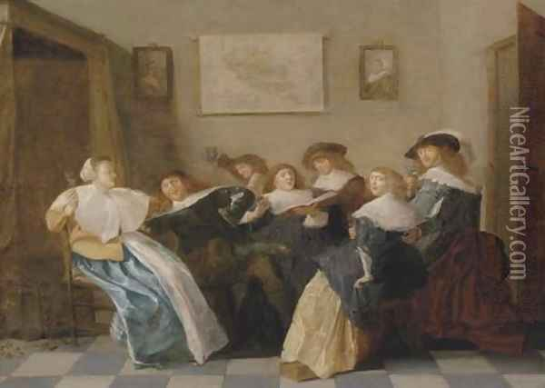 Elegant company merrymaking in an interior Oil Painting - Dirck Hals