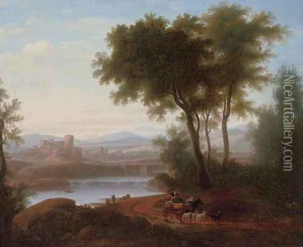 An Italianate river landscape with a drover playing a flute, his cattle on a track, a fisherman beyond Oil Painting - Jacob Philipp Hackert