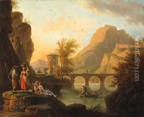 A mountainoius River Landscape with Fisherfolk conversing on a Bank, a Bridge beyond Oil Painting - Jacob Philipp Hackert