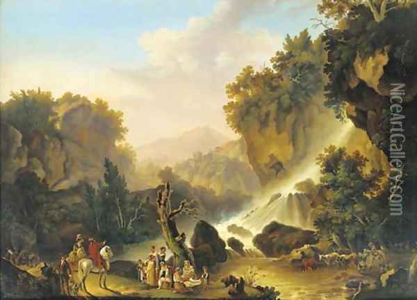 A river landscape with a waterfall, a drover and his cattle, washerwomen and travellers at halt Oil Painting - Jacob Philipp Hackert
