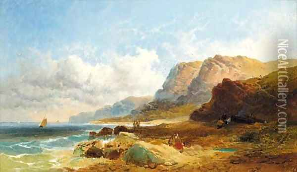 Fisherfolk on the shore; and Cattle watering in an extensive river landscape Oil Painting - Joseph Horlor