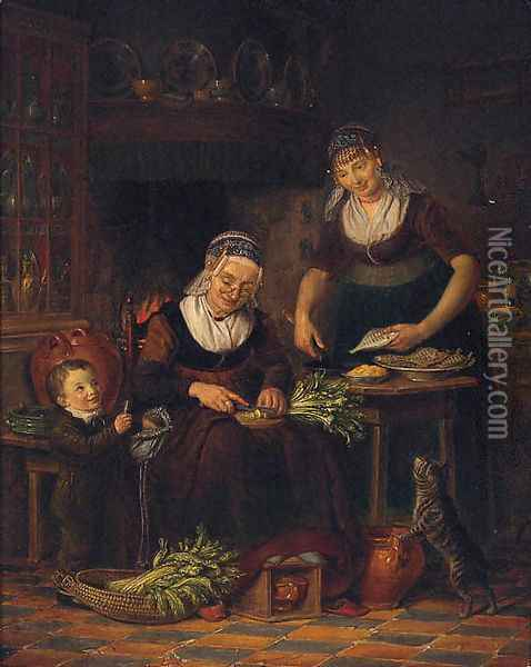 Women preparing a meal in a parlour by a young boy and a cat Oil Painting - Johanus Petrus Van Horstok