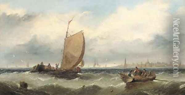 Fishermen hauling in their nets Oil Painting - Edwin Hayes