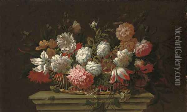 Carnations, chrysanthemums, roses, a parrot tulip and other flowers in a basket on a ledge Oil Painting - Pieter Hardime