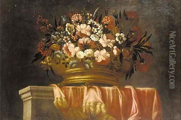 Flowers in an urn on a draped ledge Oil Painting - Pieter Hardime
