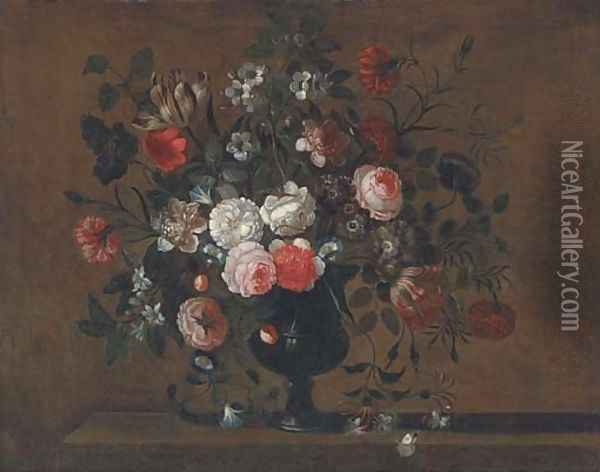 Parrot tulips, roses, morning glory, chrysanthemums and other flowers in a vase on a ledge Oil Painting - Pieter Hardime