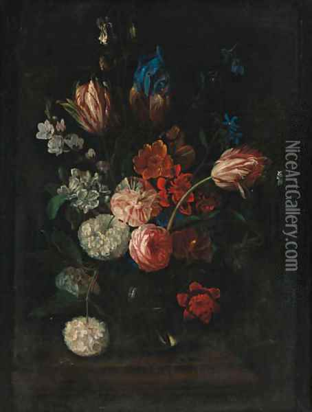 Carnations, tulips, peonies, irises and other flowers in a glass bowl on a ledge Oil Painting - Pieter Hardime
