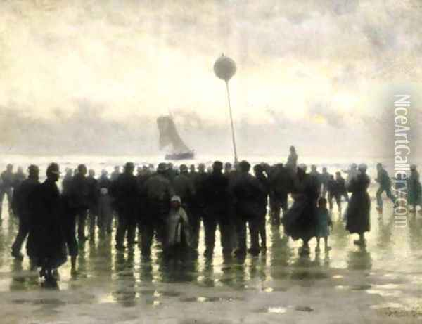 The arrival of the fleet Oil Painting - Thomas Bush Hardy
