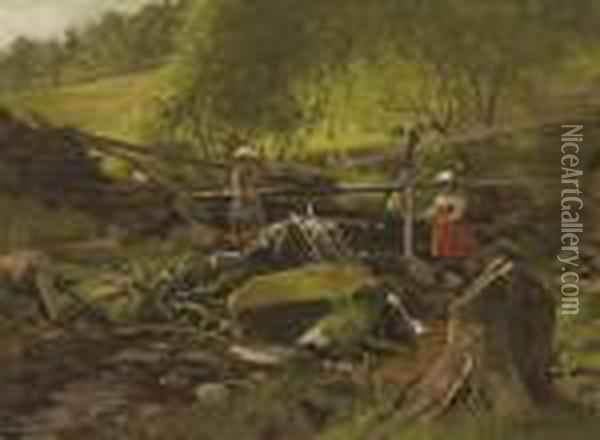 Fishing, Fort Lee, New Jersey Oil Painting - John George Brown