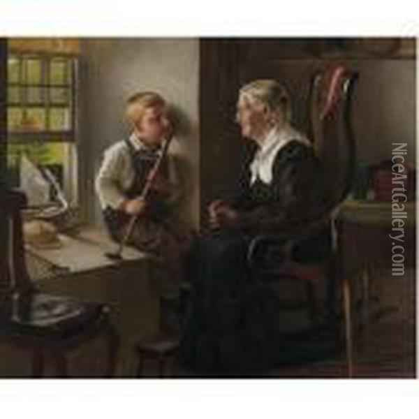 Telling Stories To Grandma Oil Painting - John George Brown