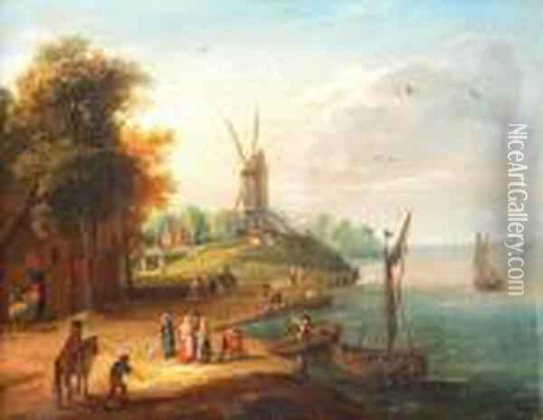 The Elder Acoastal Landscape With Fishing Boats Before A House And A Windmillbeyond Oil Painting - Jan The Elder Brueghel