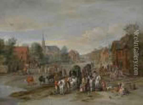 Village Street With Horses And Carts Andnumerous People Oil Painting - Jan The Elder Brueghel