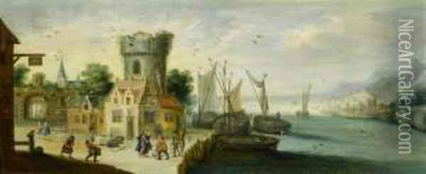 Flemish Harbour With The Biblical Scene