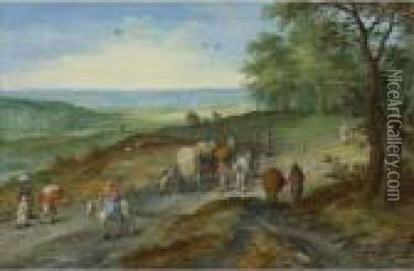 A Panoramic Landscape With A Covered Wagon And Travelers On Ahighway Oil Painting - Jan The Elder Brueghel