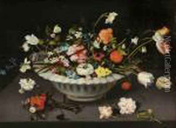 Stillleben Mit Blumen In Einer Keramikschale. Oil Painting - Jan The Elder Brueghel