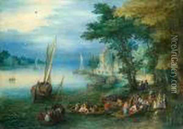 A River Landscape With Figures Disembarking From A Ferry Oil Painting - Jan The Elder Brueghel