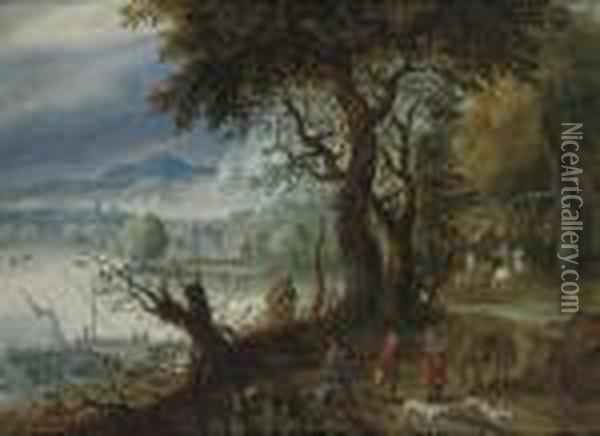 A Wooded River Landscape With A Hunting Party On A Track, Shipping And Villages Beyond Oil Painting - Jan The Elder Brueghel