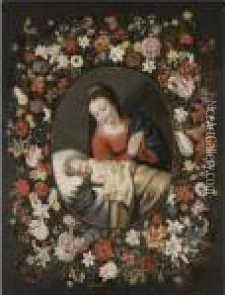 The Virgin And Sleeping Christ Child Surrounded By A Garland Offlowers Oil Painting - Jan The Elder Brueghel