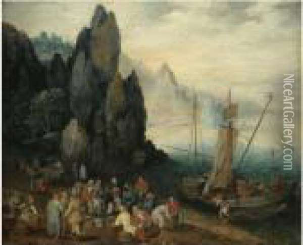A Rocky Coastal Landscape With Fishermen Unloading Their Catch,craggy Mountains Beyond Oil Painting - Jan The Elder Brueghel