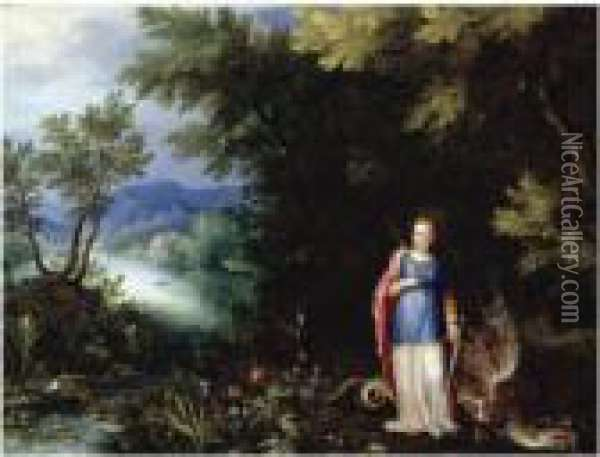 Saint Margaret And The Dragon In An Extensive River Landscape Oil Painting - Jan The Elder Brueghel