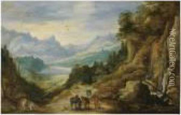 A Distant Mountainous Landscape With Cavaliers Oil Painting - Jan The Elder Brueghel
