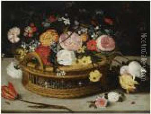 Still Life Of Roses, Tulips, 
