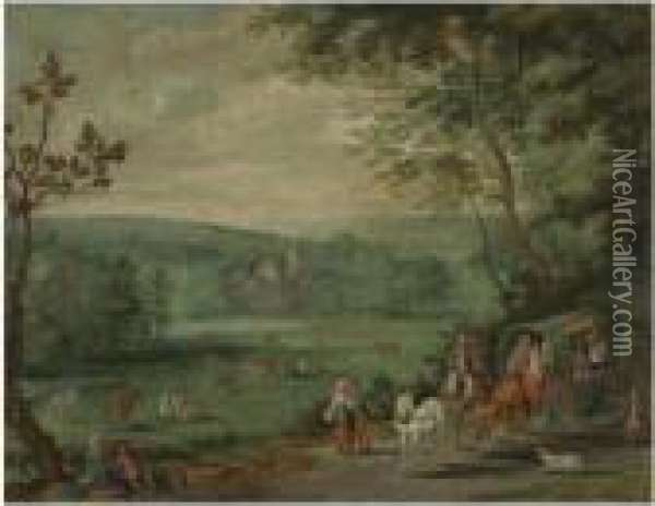 Wooded Landscape With Travellers In A Horse And Cart On A Path, Achateau Beyond Oil Painting - Jan The Elder Brueghel