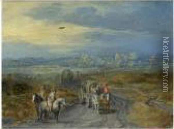 Travellers On A Country Road With A Village Beyond Oil Painting - Jan The Elder Brueghel