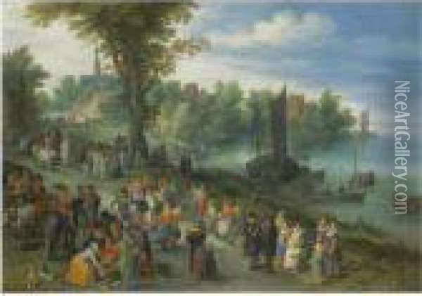 The Edge Of A Village With  Figures Dancing On The Bank Of A Riverand A Fish-seller And A Self  Portrait Of The Artist In Theforeground Oil Painting - Jan The Elder Brueghel