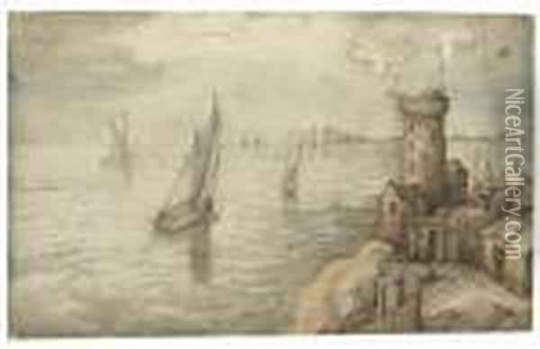 Fishing Boats Off The Coast By A Harbour Town Oil Painting - Jan The Elder Brueghel