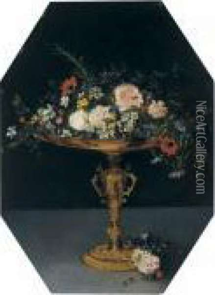 Still Life With Flowers In A Gilt Tazza Oil Painting - Jan The Elder Brueghel