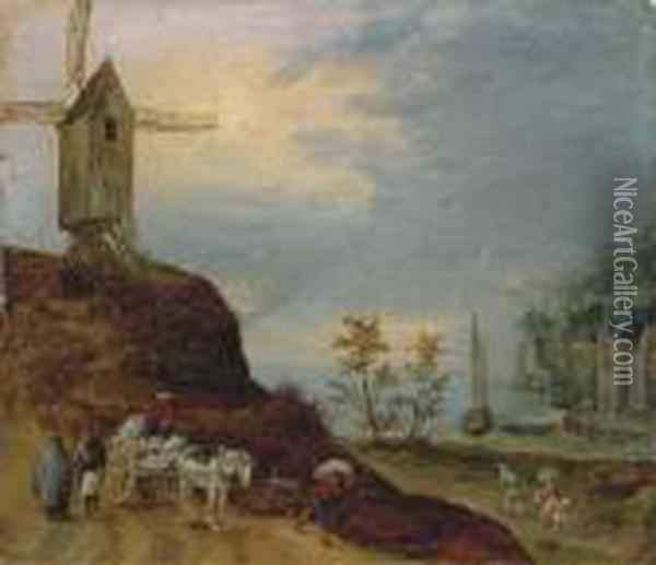 An Extensive River Landscape With A Windmill And Travellers On Apath Oil Painting - Jan The Elder Brueghel