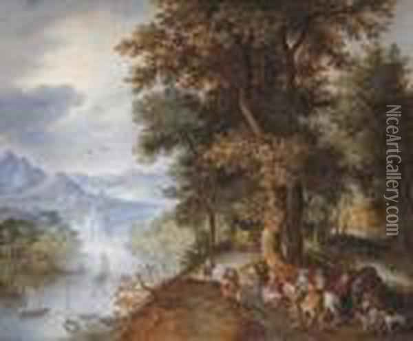 An Extensive Mountainous River  Landscape With Horsemen And Figuresreturning From The Falconry, Villages  In The Valley Beyond Oil Painting - Jan The Elder Brueghel