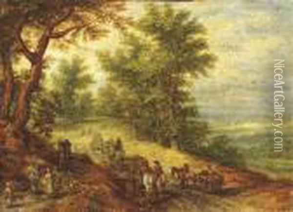 A Wooded Landscape With Travellers On A Path Oil Painting - Jan The Elder Brueghel