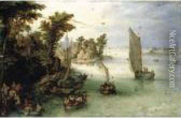 A River Scene With Boats Unloading At A Quay, And A Village Beyond Oil Painting - Jan The Elder Brueghel