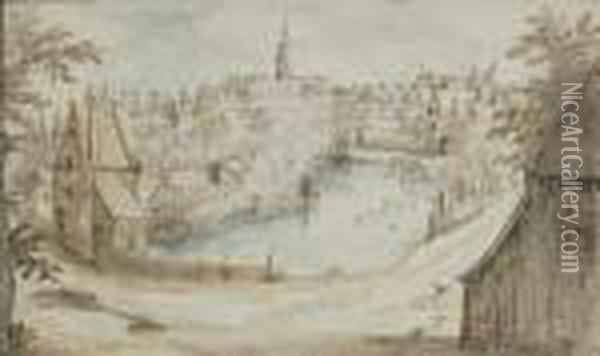 View Of A City With Canal Oil Painting - Jan The Elder Brueghel